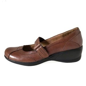 Naturalizer Mary Jane Leather Wedges 6.5 Brown